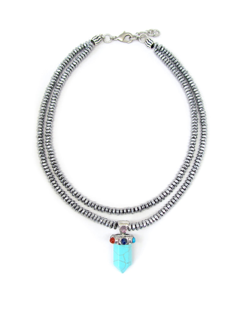 Crystal Pendant on Double-Strand Silver Hematite Necklace