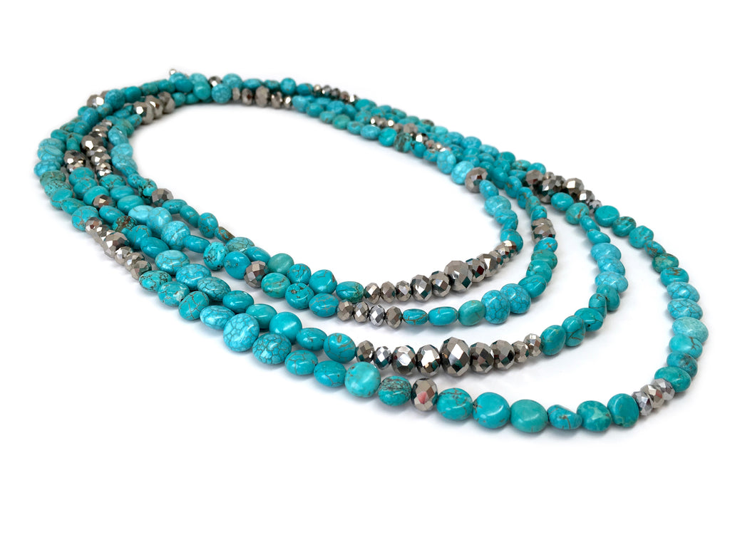 Lori Turquoise and Silver Opera Necklace
