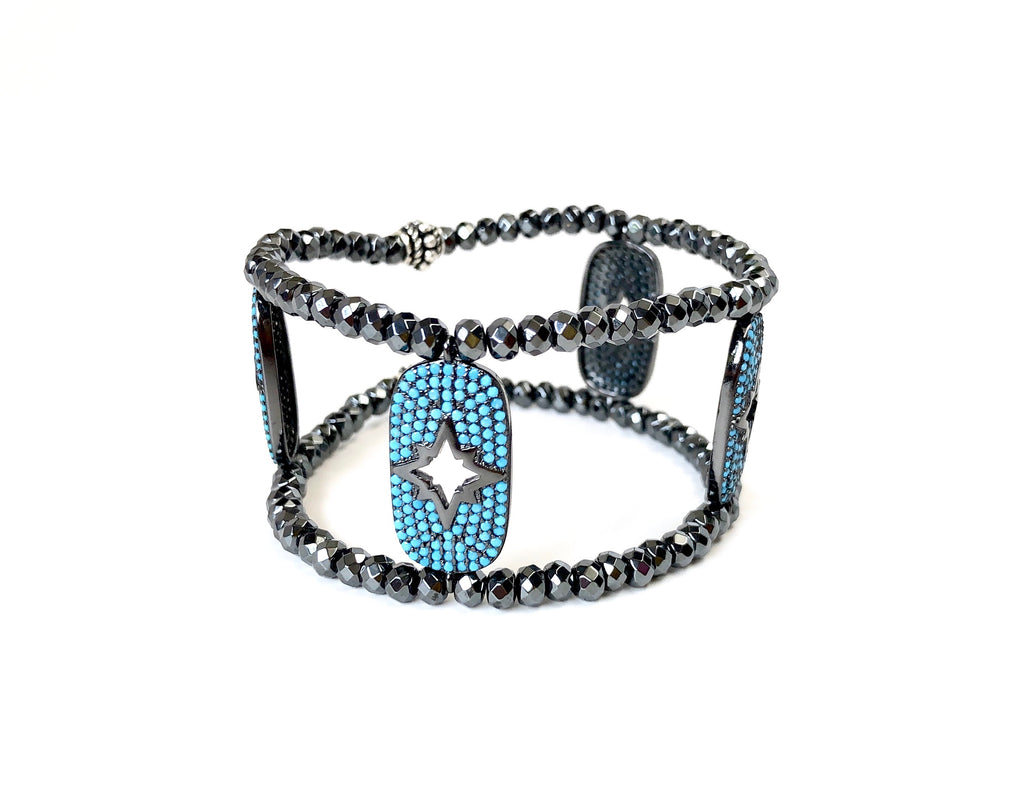 Turquoise Charm with Starburst Cutout Cuff Bracelet