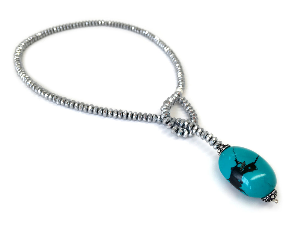 Silver Hematite with Turquoise Stone Drop Necklace