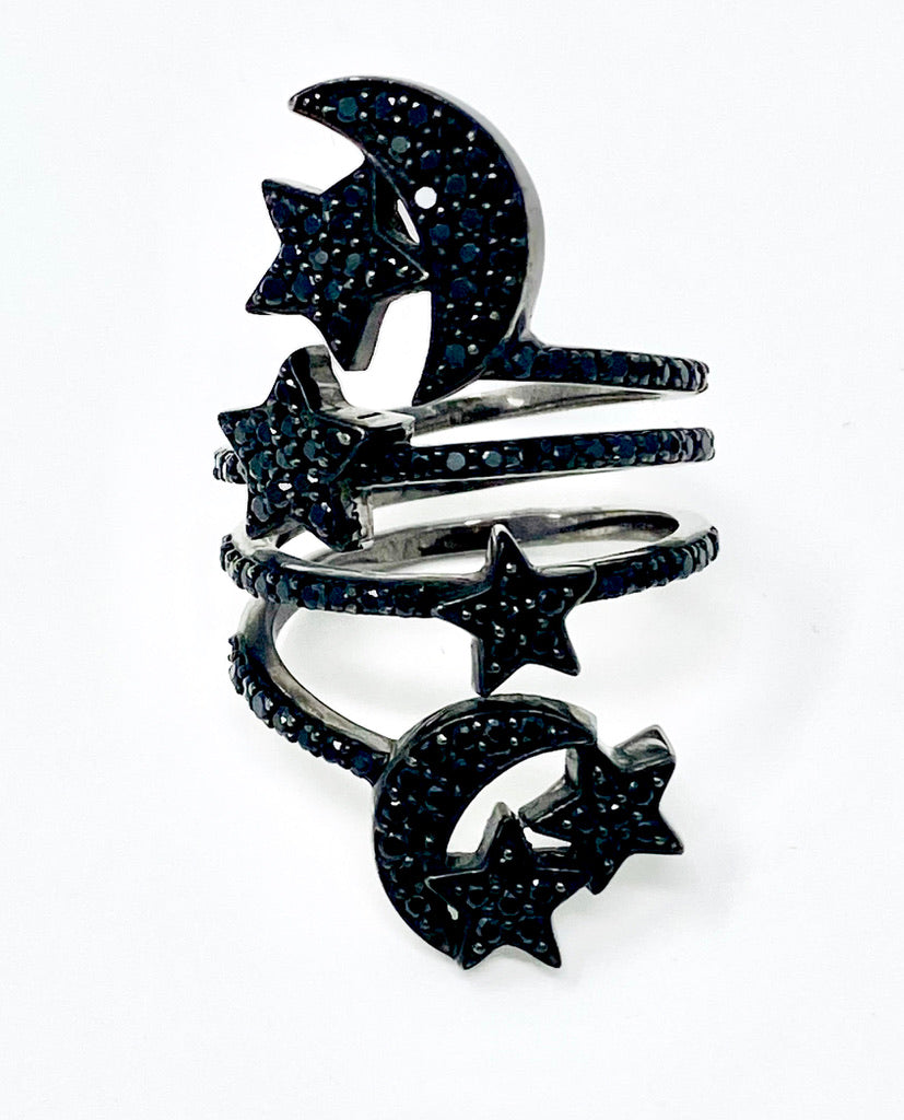 Black Spinel Moons & Stars Ring