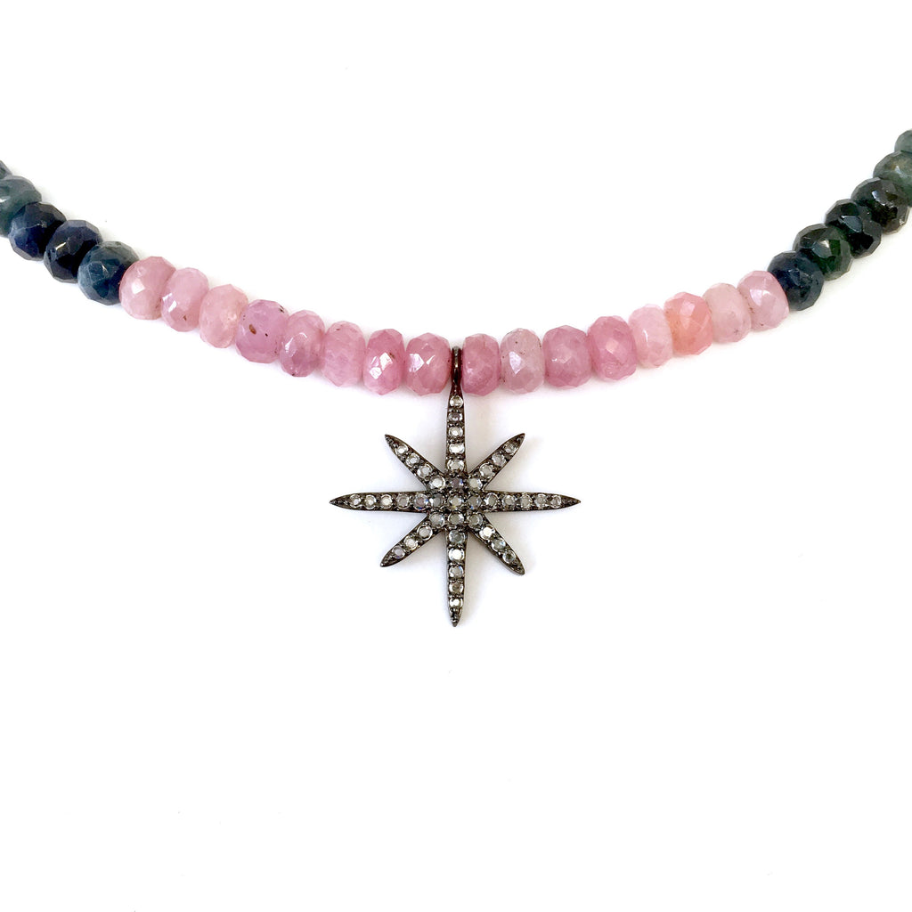 Mini White Sapphire 8 Point Star Charm on Rainbow Sapphire Necklace