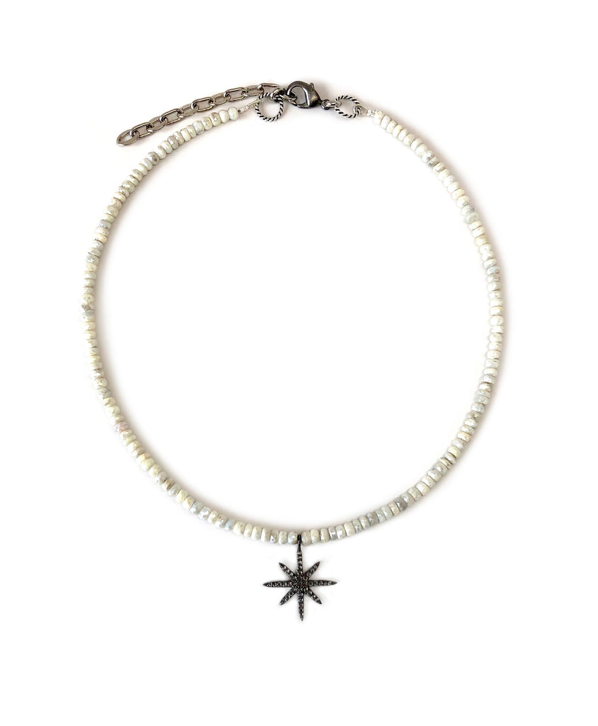 Mini White Sapphire 8-Point Star Charm on Silverite Necklace
