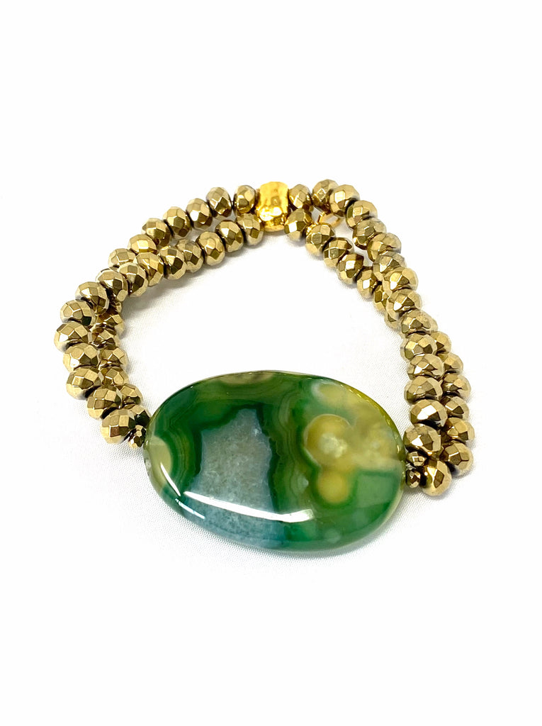 Double Strand Lime Green Agate Bracelet