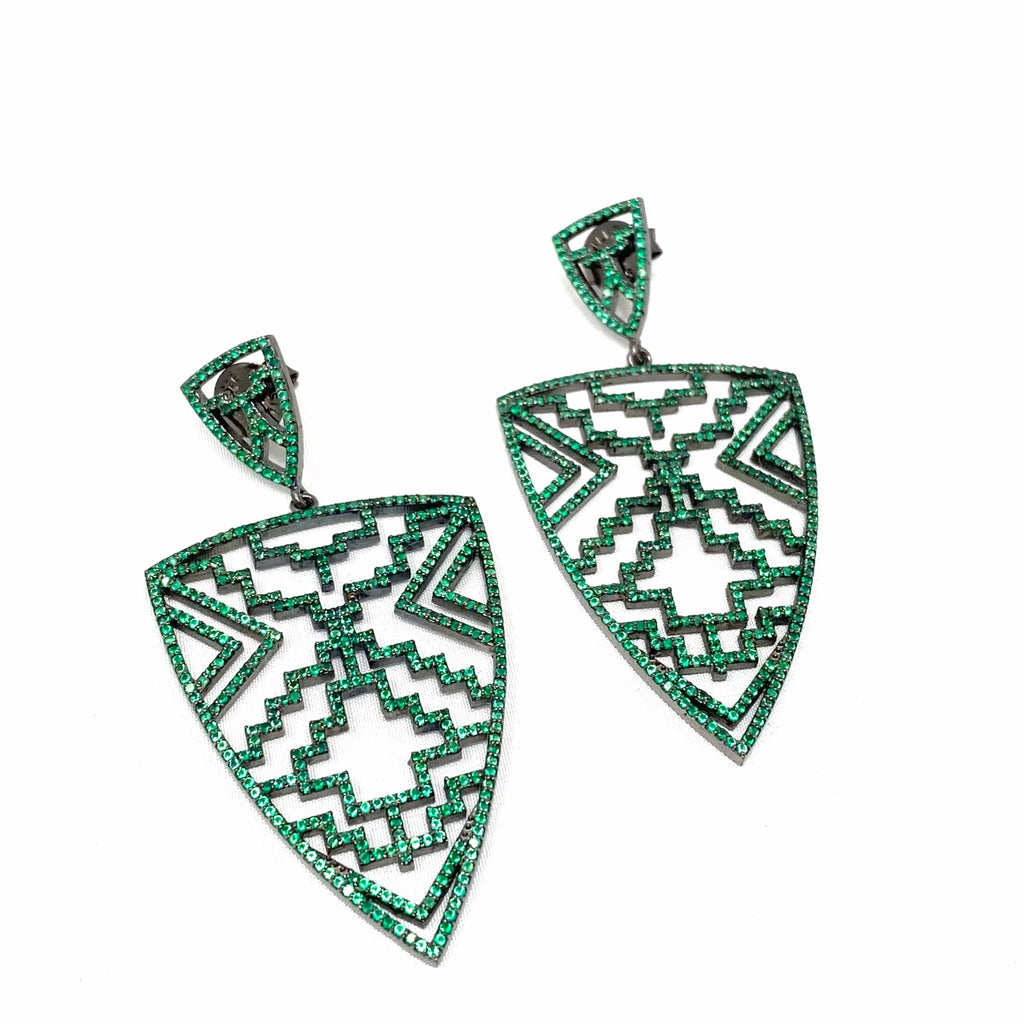 Green Onyx Aztec Shield Earrings
