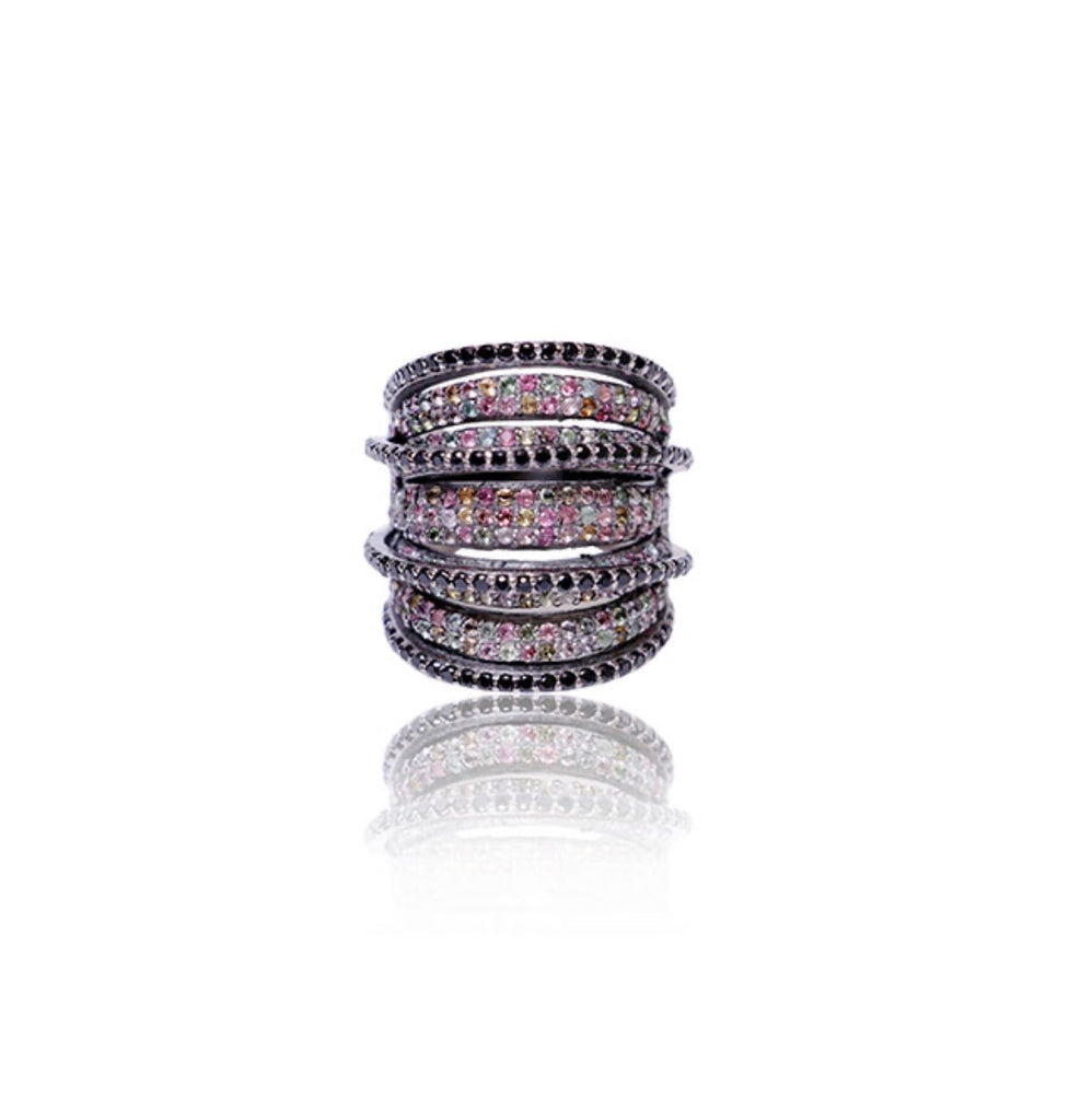 Rainbow Tourmaline and Spinel Bands Wrap Ring
