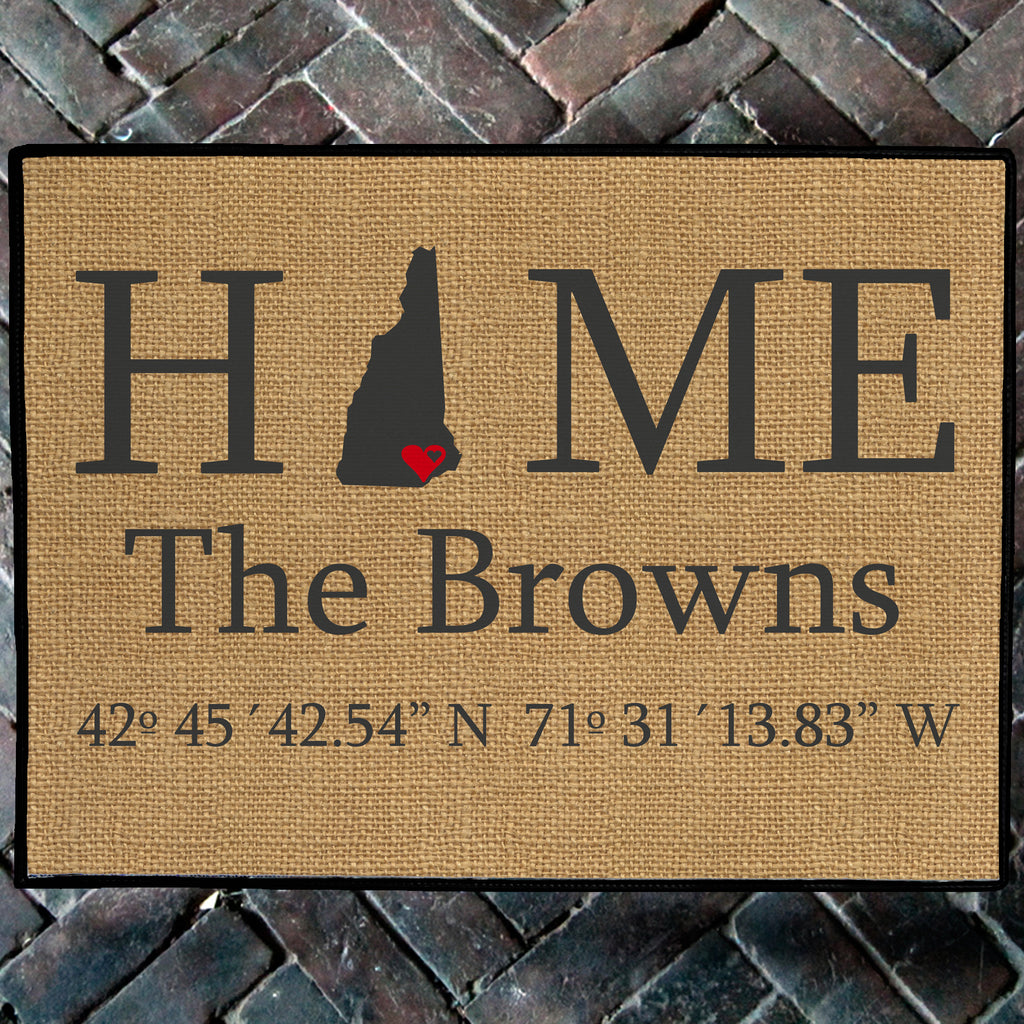 personalized new hampshire home state doormat with coordinates