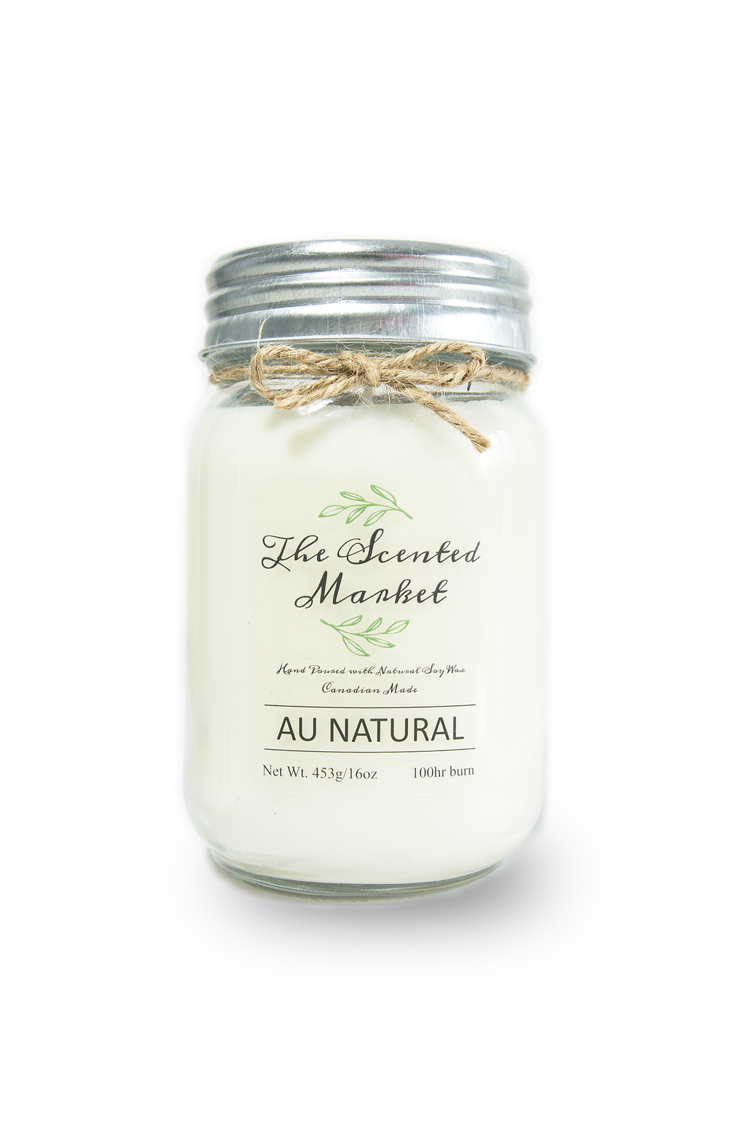 AU NATURAL / SCENT FREE SOY WAX CANDLE 16oz