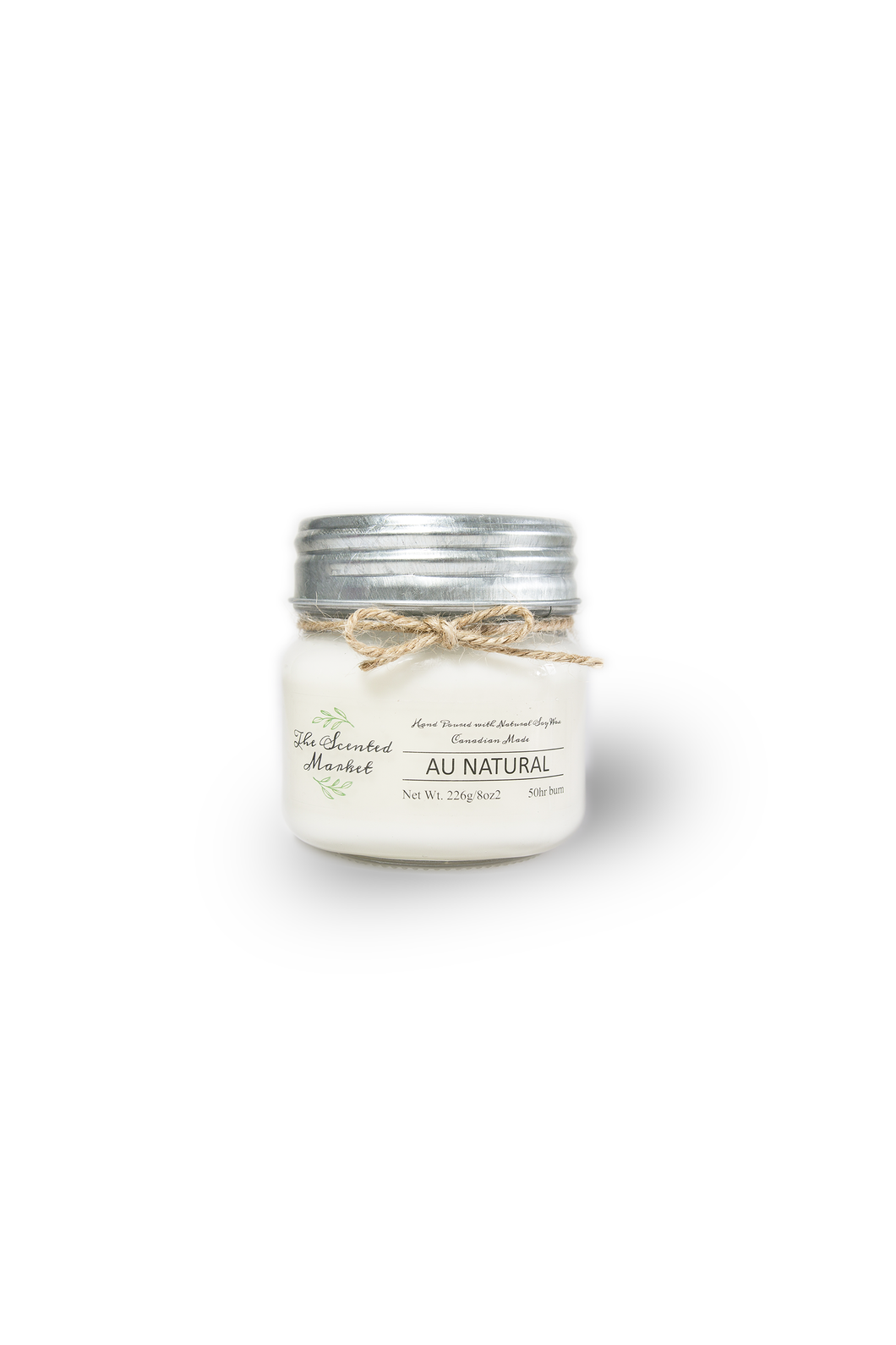 AU NATURAL / SCENT FREE SOY WAX CANDLE 8oz