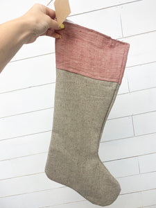 Stocking - Red, beige and tweed