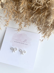 Earrings - Silver ROPE BOW