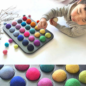 4cm Felt Balls Montessori Sensory Play Counting Toy, JUMBO x25 Large Balls, Kids Craft Supplies Steiner Inspired