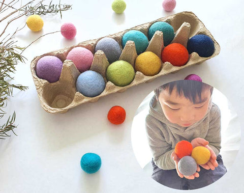 Large Felt Balls 4cm Montessori Sensory Play Counting Toy, JUMBO x10 Assorted Colour 2, Steiner Inspired