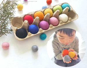 Large Felt Balls 4cm Montessori Sensory Play Counting Toy, JUMBO x10 Assorted Colour 1, Steiner Inspired