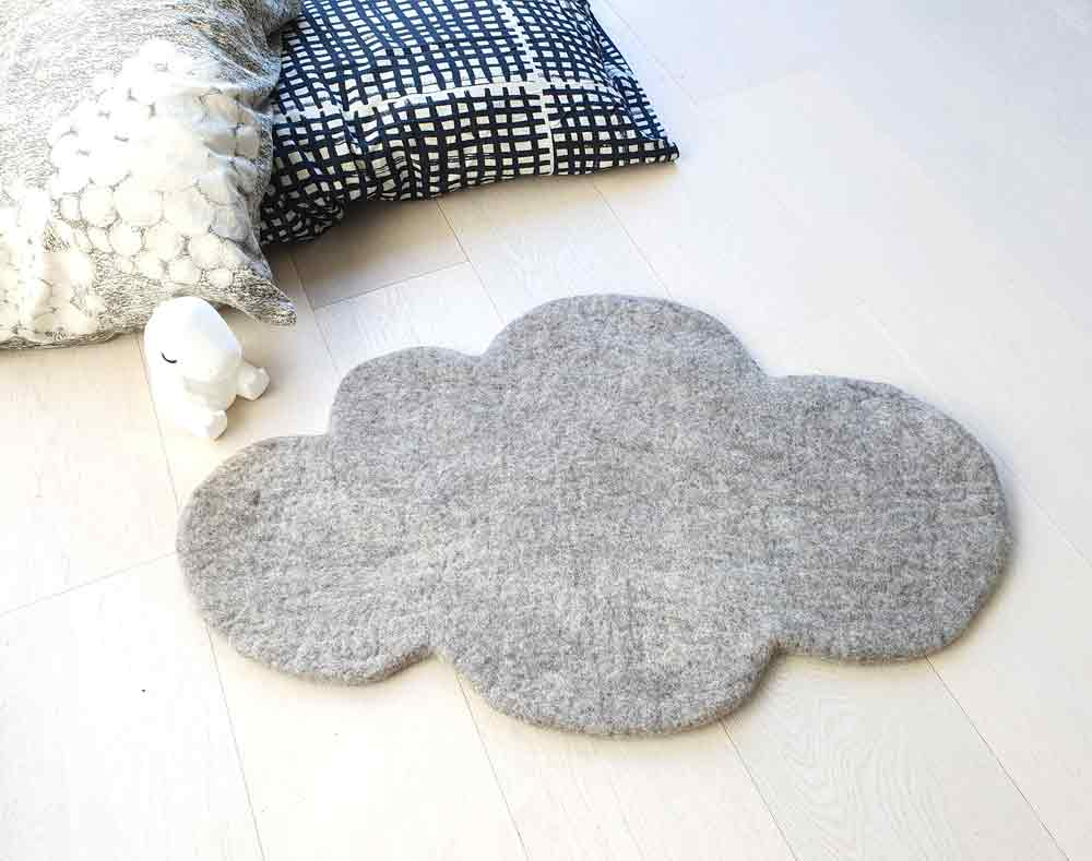 Cloud Nine Felt Rug | Grey Brown Natural Tone