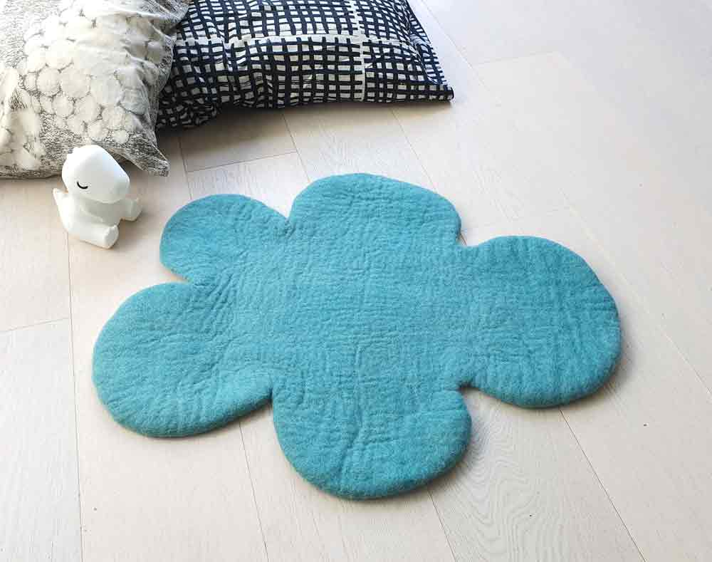 Cloud Rug, Dark Mint, nursery kids rug, felt rug