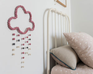 Cloud Mobile, Scandi Pink, baby nursery mobile for cot, kids room wall hanging decor