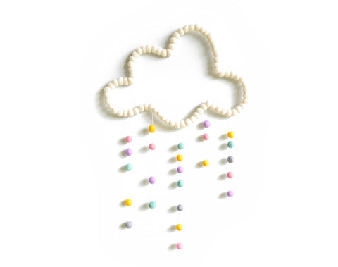 Cloud Mobile, White Pastel, baby nursery mobile for cot, kids room wall hanging decor