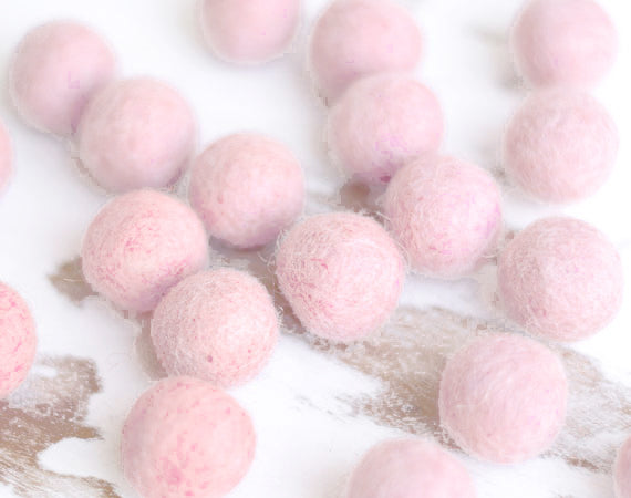 White Pink Felt Balls 2.5cm x20 Wool Pom Poms. Craft Supplies. Kids Decor Craft.