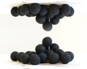 Black Felt Balls 2.5cm x20 Wool Pom Poms. Craft Supplies. Kids Decor Craft.