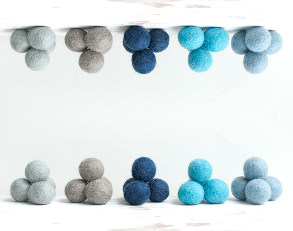 Mixed Blue Felt Balls 2.5cm x20 Mixed Blue Grey Wool Pom Poms. Craft Supplies. Winter Shade.