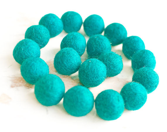 Cyan Blue Felt Balls 2cm x20 Wool Pom Poms. Craft Supplies. Kids Decor Craft.