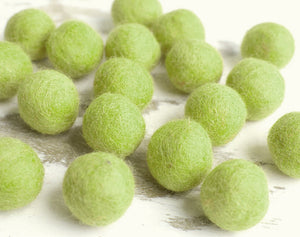Green Felt Balls 2cm x20 Wool Pom Poms. Craft Supplies. Kids Decor Craft.