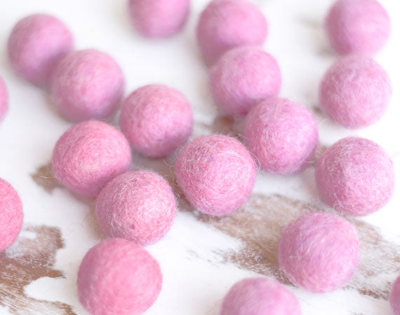 Light Pink Felt Balls 2cm x20 Wool Pom Poms. Craft Supplies. Kids Decor Craft.