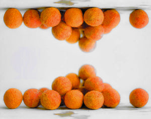 Medium Orange Felt Balls 2cm x20 Wool Pom Poms. Craft Supplies. Kids Decor Craft.