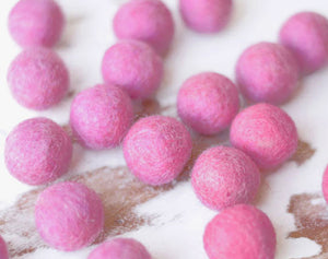 Pink Felt Balls 2cm x20 Wool Pom Poms. Craft Supplies. Kids Decor Craft.