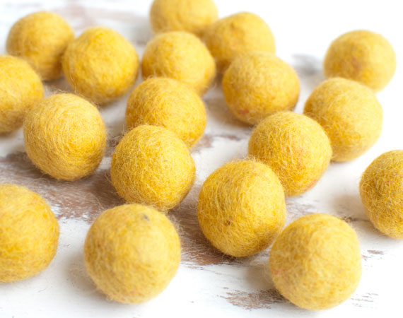 Mustard Yellow Felt Balls 2cm x20 Wool Pom Poms. Craft Supplies. Kids Decor Craft.