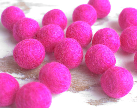 Hot Pink Felt Balls 2cm x20 Wool Pom Poms. Craft Supplies. Kids Decor Craft.