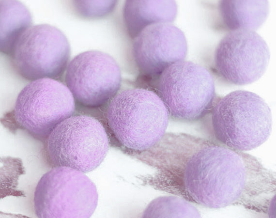 Purle Felt Balls 2cm x20 Wool Pom Poms. Craft Supplies. Kids Decor Craft.