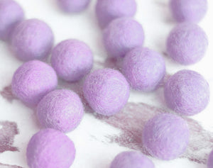 Purle Felt Balls 2.5cm x20 Wool Pom Poms. Craft Supplies. Kids Decor Craft.