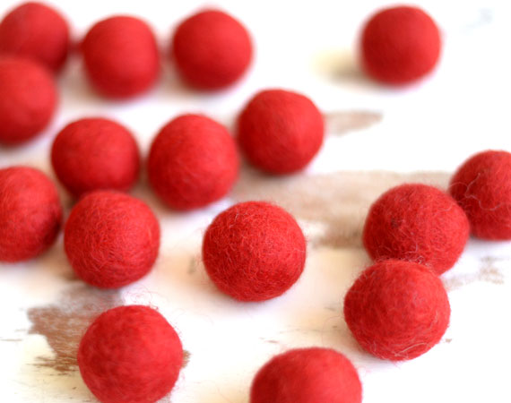 Red Felt Balls 2.5cm x20 Wool Pom Poms. Craft Supplies. Kids Decor Craft.