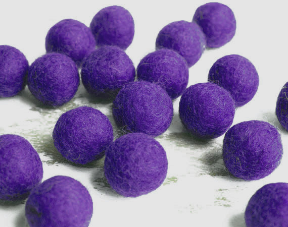 Dark Purple Felt Balls 2.5cm x20 Wool Pom Poms. Craft Supplies. Kids Decor Craft.