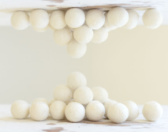 White Felt Balls 2cm x20 Wool Pom Poms. Craft Supplies. Kids Decor Craft.