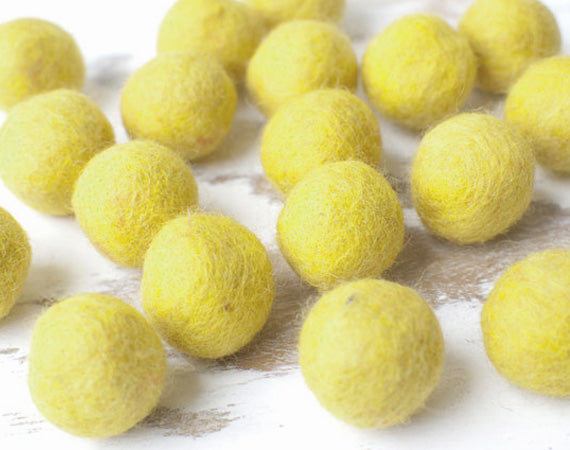 Yellow Felt Balls 2cm x20 Wool Pom Poms. Craft Supplies. Kids Decor Craft.