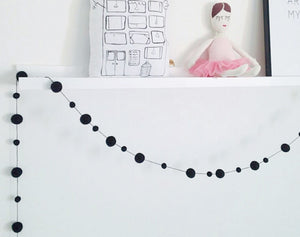 Felt Ball Garland, Black pom pom garland, nursery, kids and home wall hanging decorations