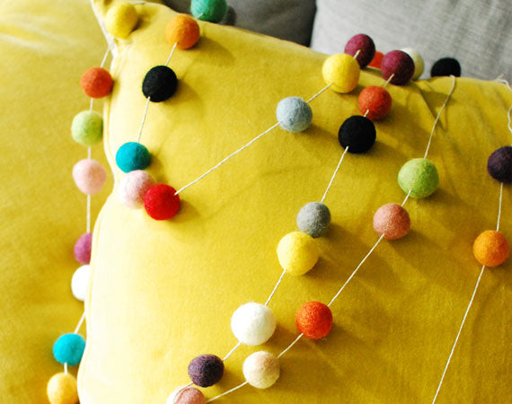 Felt Ball Garland, Colourful Rainbow pom pom garland, tree decorations, nursery, kids and home wall hanging