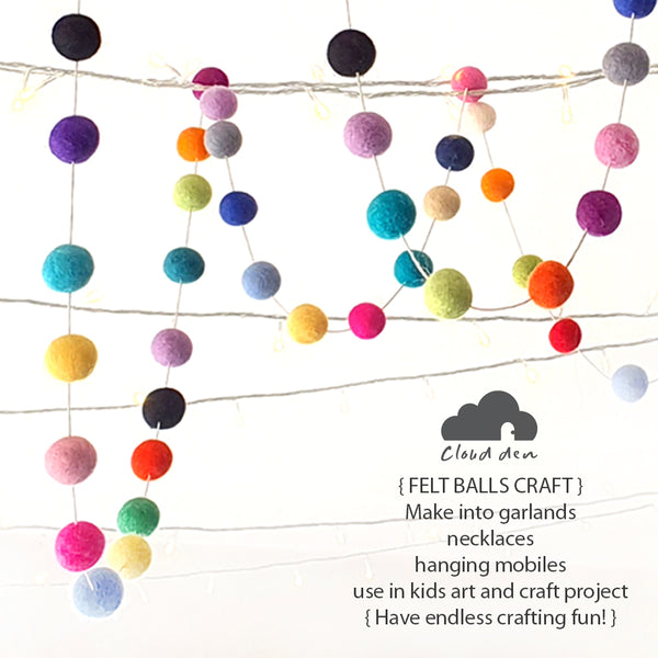 2cm Felt Balls x50, DIY Wool Assorted Kids Sensory Play Craft Pretend Play Toy