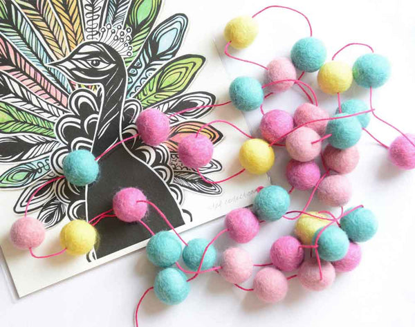 Felt Ball Garland, Pink Cyan Yellow pom poms, nursery, kids and home wall hanging decor