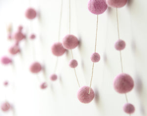Felt Ball Garland l All Pink
