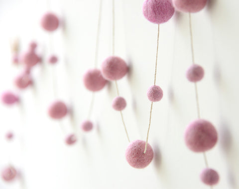 Felt Ball Garland, Pink pom pom garland, nursery, kids and home wall hanging decor