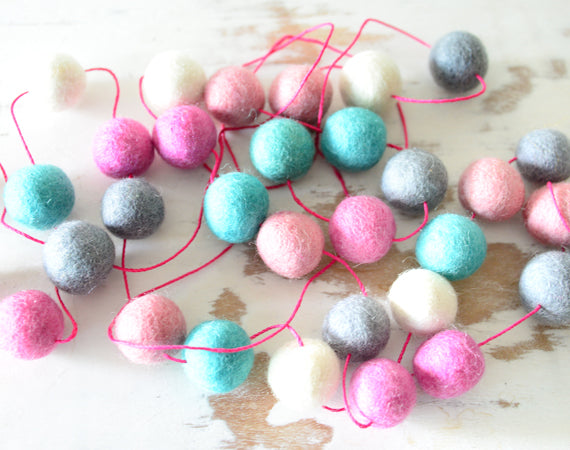 Felt Ball Garland, Princess Pink pom pom garland