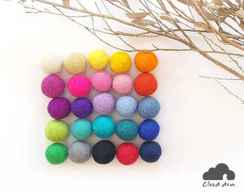 2.5cm Felt Balls x100 : Pom Poms. Craft Supplies. Wool. Colourful. Handmade. Beads.