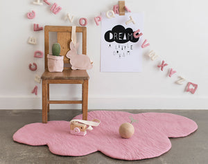 Cloud Kids Rug, Soft Pink, felt nursery rug, wool play mat, scandi home decor