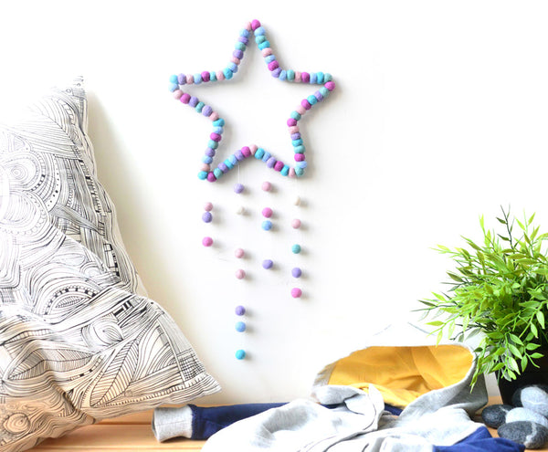 Star Mobile, Pastel, baby nursery mobile for cot, kids room wall hanging decor