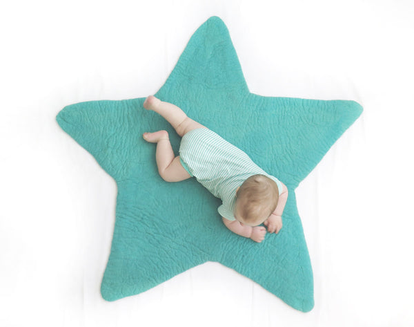 Star Felt Rug | Mint Blue