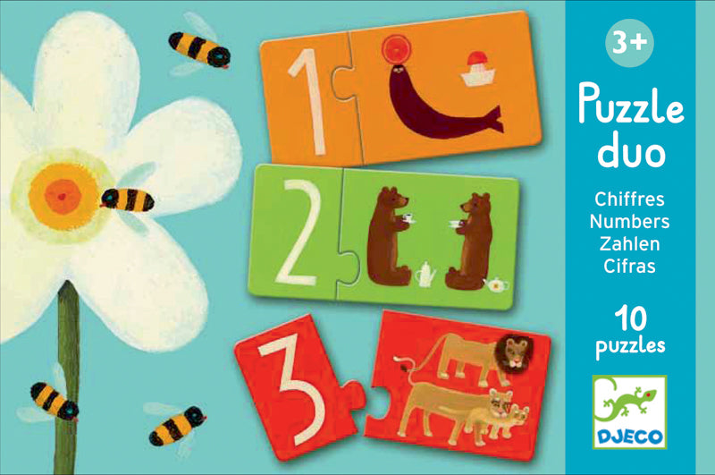 Djeco Duo Numbers 20pc Puzzle_Learn Counting_1 to 10 Toy